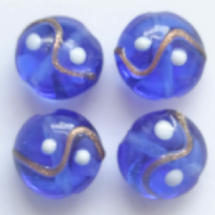 20 Blue  Lampwork Glass 17mm Disc Beads